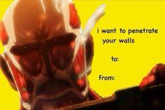 Attack On Titan Funny Valentine Meme Valentines Cards, Valentines Anime, Funny Valentine, Grisha Jaeger, Anime Pick Up Lines, Potato Girl, Best Animes Ever, My Well Being, Attack On Titan Funny