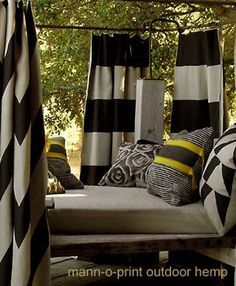 Outdoor Fabric from House of Mann. I think this is going on my screen porch Outdoor Cabana, Indoor Outdoor Living, Outdoor Rooms, Outdoor Fun, Outdoor Decor, Outdoor Curtains, Outdoor Fabric, Privacy Screen Outdoor, Privacy Fences
