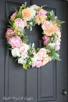 Summer Flowers for your front door. DIY Wreath Tutorial ideas.