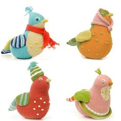 knitted birdie baby rattles - how friggen cute are these? Crochet Cross, Crochet Baby, Knit Crochet, Knitting Projects, Knitting Patterns, Little Girl Gifts, Knitted Animals, Baby Blog, How To Purl Knit