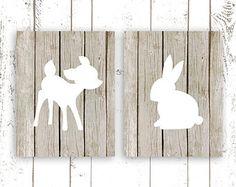 Nursery Art Prints, Woodland Nursery Prints, Wood Art Print of Deer and Bunny, Modern Nursery Wall Decor