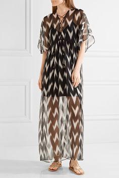Rachel Zoe - Carroll Printed Crinkled Silk-chiffon Maxi Dress - Black - medium