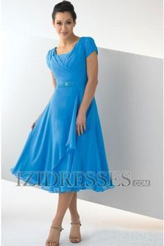 A-Line/Princess Square Tea-length Chiffon Mother Of The Bride Dress,............. champagne