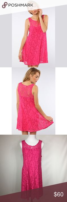 FREE PEOPLE MILES OF LACE DRESS Fit and flare. Hot pink. NWT Free People Dresses Midi
