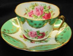 EB Foley England Pink Red Roses Green Gold Texture Tea Cup and Saucer
