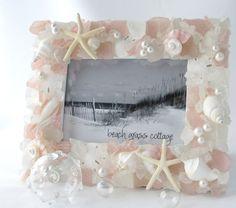 Beach Decor Sea Glass Seashell Frame  by beachgrasscottage on Etsy, $79.00