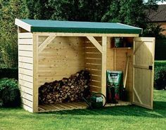25 Awesome Unique Small Storage Shed Ideas for your Garden - Gartenhaus diy Firewood Shed, Firewood Storage, Shed Storage, Small Storage, Storage Ideas, Backyard Sheds, Outdoor Sheds, Backyard Landscaping, Shed Interior