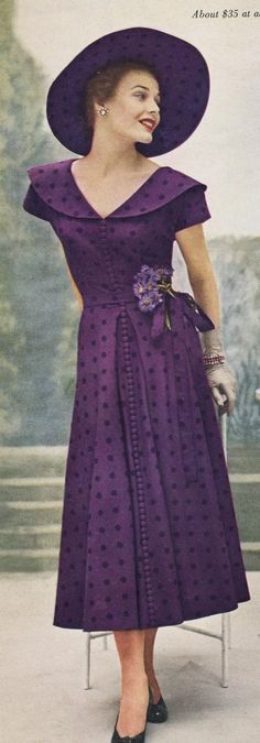 Dividing Vintage Moments : Vogue 1949 Ready for Part II? 2019 Dividing Vintage Moments : Vogue 1949 Ready for Part II? The post Dividing Vintage Moments : Vogue 1949 Ready for Part II? 2019 appeared first on Vintage ideas. Vestidos Vintage, Vintage Dresses, Vintage Outfits, Vintage Clothing, Vintage Hats, Purple Fashion, Look Fashion, Retro Fashion, Fashion Vintage