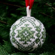 """Free knitting pattern for a Christmas Ball, my """"Kilim"""" ball design, available on my Two Strands knitting blog, www.twostrands.wordpress.com Dale of Norway yarn available from my on-line yarn store, Kidsknits.com."""