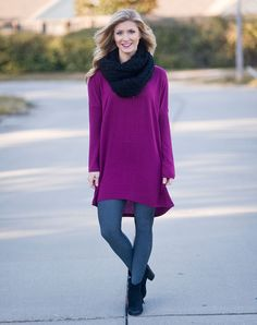 Need something to pair with those snakeskin leggings? Try this gorgeous Uptown tunic. Stunning purple and oh so comfy makes a perfect top for your closet!