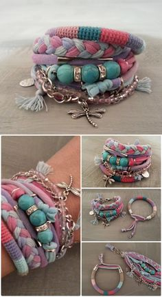 Layering Bracelets Pink and Turquoise Gypsy Bracelet Set Bohemian Style Hippie Jewelry T-shirt Yarn Bracelet Dragonfly Charm (27.00 USD) by vanessahandmade