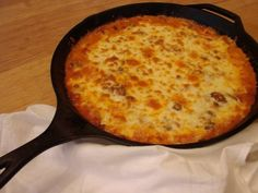 Hillbilly Spaghetti Pie: Fresh ingredients, all cooked in a cast iron pan, including the noodles. It's the kind of hot meal that warms the tummy on a cold winter's day.
