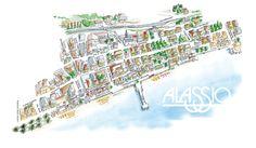 Cartina di Alassio: tecnica acquarello e china