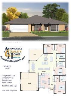 Affordable Quality Homes - Wesley (combine bed 3 & 4 to office) *** 4 Bedroom House Plans, Family House Plans, Small House Plans, House Floor Plans, Br House, Story House, House Plans South Africa, Free House Plans, House Construction Plan
