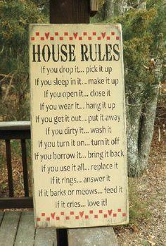 House rules funny house rules. handmade by mockingbirdprimitive, $39.95
