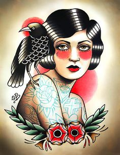 Image result for traditional crow tattoo