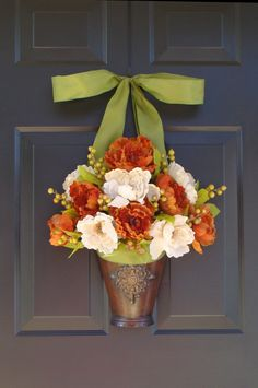 Peony Fall Wreath with Berries, Fall Wreaths Autumn Harvest, Thanksgiving Fall Wreath Personalize with Ribbon. $85.00, via Etsy.