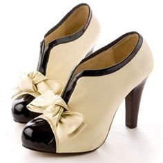 Adorable Bow Design High Heel Shoes in Beige - Oh Yours Fashion