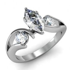 Marquise Cut 3 Three Stone Swirl Diamond Engagement Ring - Unusual Engagement Rings Review