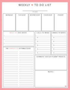 WEEKLY To Do List 1-sheet PRINTable Organization by ShePlans