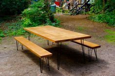 Table and benches with hairpin legs