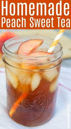 Homemade Southern Peach Sweet Tea perfect for those hot summer days! Fruit Drinks, Smoothie Drinks, Healthy Drinks, Smoothie Recipes, Beverages, Peach Drinks, Alcoholic Drinks, Cold Drinks, Smoothies