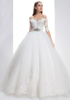 Off+The+Shoulder+Chapel+Train+Tulle+Ball+Gown+Wedding+Dress+Who0199