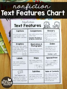 Nonfiction Text Features Chart {FREE} - This Reading Mama (grade 3 art struggling readers) Text Features First Grade, What Are Text Features, Reading Lessons, Math Lessons, Reading Resources, Reading Comprehension Strategies, Writing Strategies, Library Lessons, Reading Fluency