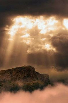 Clouds, Fog and Sun Rays over Arthur's Seat ~ Edinburgh, Scotland