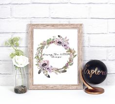 Enjoy the little things print art, wal art, watercolor flowers print by NikaKoscielny on Etsy