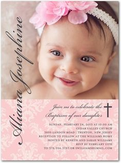 Perfect Angle: Soft Pink - Baptism, Christening Invitations in Soft Pink Baby Dedication Invitation, Baby Dedication Certificate, Unique Invitations, Invitation Cards, Baptism Party, Baptism Ideas, Christening Invitations Girl, Baby Girl Christening, Custom Cards