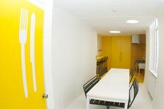 La cuisine collective du 2ème étage Strasbourg, Conference Room, Quilting, Cabinet, Storage, Table, Furniture, Home Decor, Clothes Stand