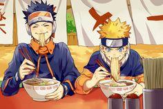 Naruto & Obito in ichiraku