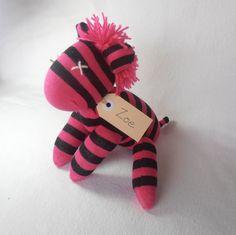 Zoe Zebra Sock animal sock zebra sock monkey soft by lostsockshome, $23.00