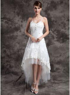 Corte A/Princesa Escote en V Asimétrico Organdí Tul Vestido de novia con Bordado Los appliques Encaje