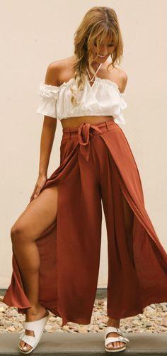 High Waist High Slit Wide-leg Pants with Belt
