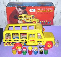 This is the very first version of the Fisher Price #192 School Bus made in 1965.  It has the wooden bottom and the swing out Stop sign.  I've even got the original box it came in.  What a find!!! #teamsellit