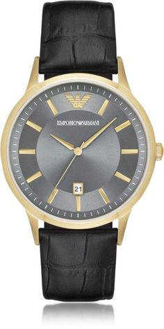 Emporio Armani Gold-tone PVD Stainless Steel Men s Quartz Watch w Croco  Embossed Leather Strap 4ed9191fd5d