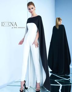 Jumpsuit with floor length cape from designer Ieena Duggal.Jumpsuit with floor length cape from designer Ieena Duggal. Black Women Fashion, Look Fashion, High Fashion, Womens Fashion, Fashion Design, Classy Outfits, Fall Outfits, Elegantes Outfit, Cape Dress