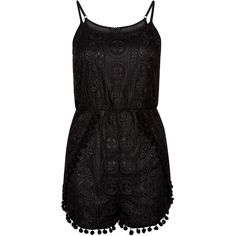 Parisian Black Lace Pom Pom Trim Playsuit (48 BRL) ❤ liked on Polyvore featuring jumpsuits, rompers, shorts, summer romper, playsuit romper, summer rompers, lace romper and pom pom romper