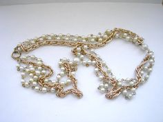 Retro gold tone metal chain necklace with faux pearl by badgestuff, $10.00