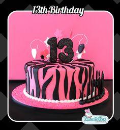 13th Birthday - Zebra stripe, black and pink cake!