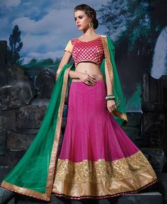Buy Delightful Pink Lehenga Choli online at  https://www.a1designerwear.com/delightful-pink-lehenga-choli-10  Price: $49.47 USD