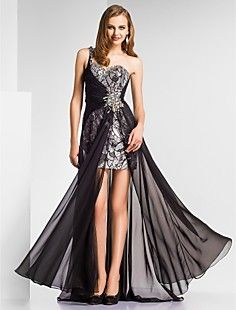 Sheath/Column One Shoulder Floor-length Chiffon|Sequined Eve... – USD $ 199.99