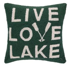 Live Love Lake with Oars Hook Wool Throw Pillow