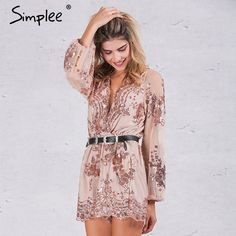 6f50f8294616 Simplee 2017 Autumn Gold sequin embroidery elegant jumpsuit romper  Transparent mesh sleeve playsuit women Deep v