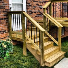 We liked the look of adding Deckorator's black balusters to this wood deck and stairs. Outdoor Stair Railing, Porch Stairs, Outdoor Steps, Back Steps, Deck Builders, Screened In Porch, Decking, Curb Appeal, Backyard