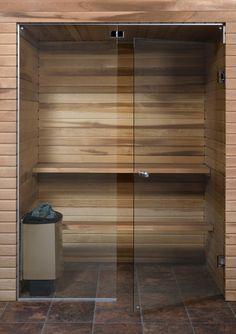 Saunan lasiseinä, ovi ja korkea ikkuna, saranat keskellä | Saunan lasiseinät | Netrauta.fi