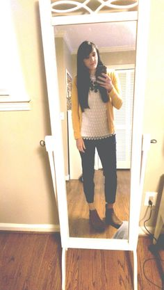 One of my absolute favorite tops from Anthro. Paired with skinny ankle pants from Limited in navy, a mustard cardigan from Target, and brown ankle boots from Steve Madden. Statement necklace in navy, also from Target. Have gotten so many compliments on this look.