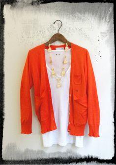 Tagua Petals necklace with Orange cardigan Orange Cardigan, Blazer, My Style, Summer, Sweaters, Jackets, Women, Fashion, Down Jackets